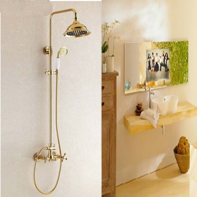 ФОТО Newly Fashion Style  Wholesale And Retail Luxury Golden Polish Rainfall Shower Faucet Set Dual Handle Mixer Tap Wall Mounted