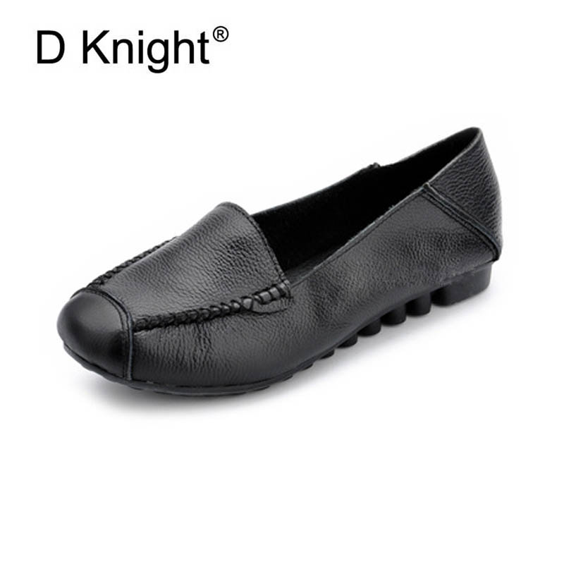 New Women's Genuine Leather Flat Shoes Round Toe Slip-on Women Flats Ladies Casual Flat Shoes Comfortable Loafers Big Size 34-43 new fashion luxury women flats buckle shallow slip on soft cow genuine leather comfortable ladies brand casual shoes size 35 41