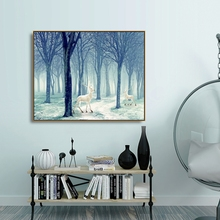 Laeacco Forest Deer Animal Posters and Prints Wall Artwork Canvas Calligraphy Painting Nordic Home Decoration Living Room Decor