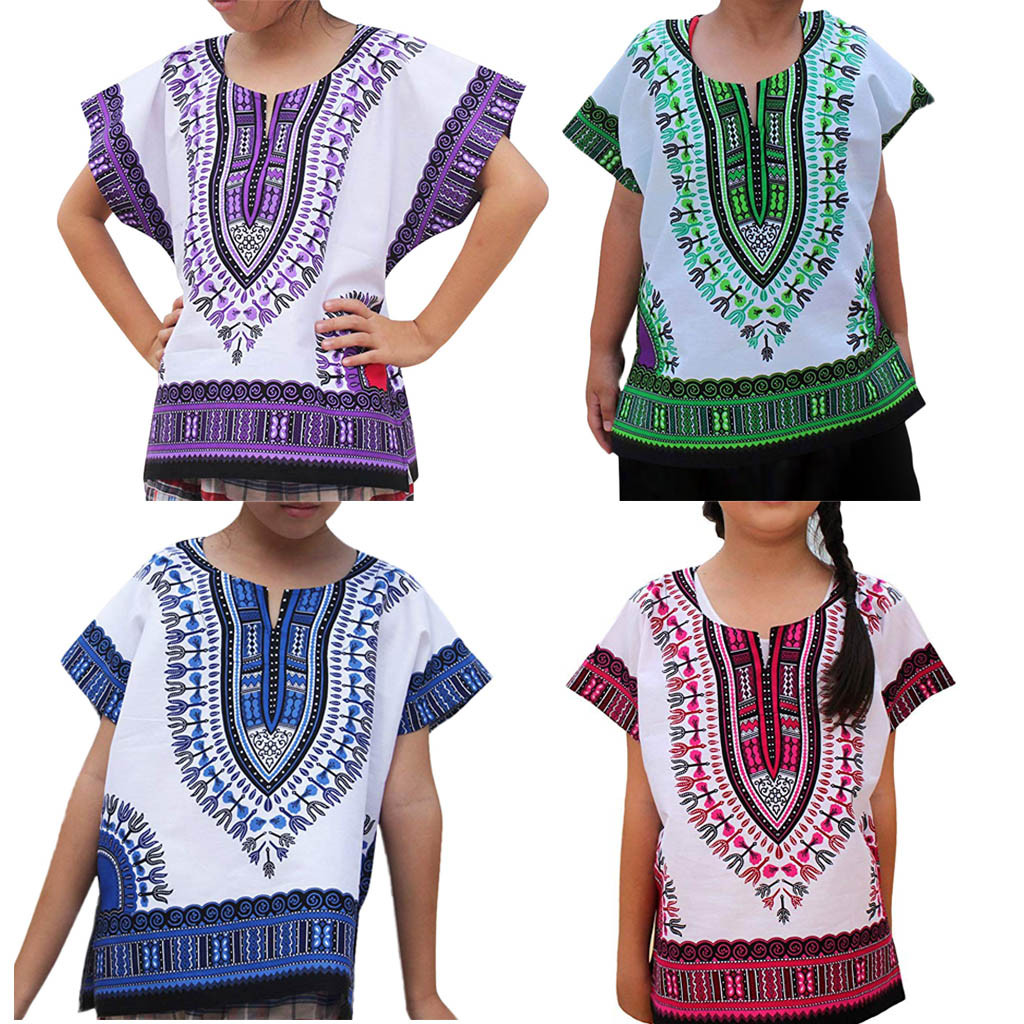 2019 Mode Jungen Afrikanische Kleidung Mädchen Kinder Baby Unisex Helle Afrikanische Farbe Kind Dashiki T Shirt T Tops Ethnische Stil Sommer 2019 W521
