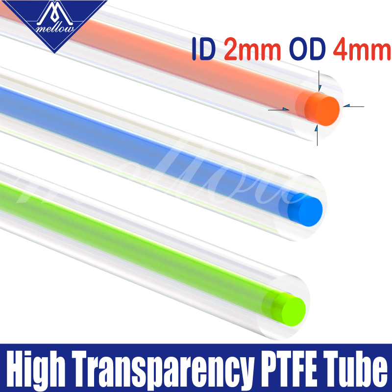 Mellow High Transparency PTFE Tube Teflonto MMU2.0 For Prusa I3 Mk3 Ender-3 Anet Mk8 Bowden Extruder 1.75mm Filament ID2mm OD4mm