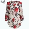 Manga larga camiseta mujer 2016 la moda de primavera única albaricoque manga larga con estampado Floral blusa Casual