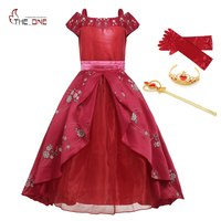 MUABABY Big Girls Elena of Avalor Fantasy Dresses Kids off Shoulder Princess Elena Dresses Simplified Girl Flower Party Costume