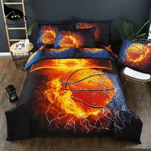 Dream NS 3D-effect kussensloop Bed Set Basketball and Flame Water Duvet Cover Sets King Bed Cover Fire Bedding Kit PN005(China)