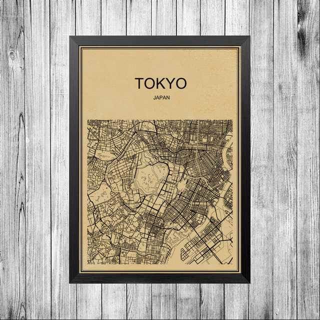 Tokyo street map city world poster abstract coated paper print retro poster bar cafe pub living