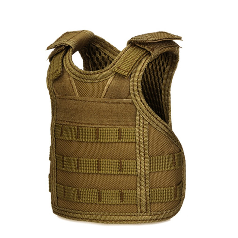 Hiking Vests Independent Tactical Beer Military Molle Vest Mini Miniature Wine Bottle Cover Vest Beverage Cooler Adjustable Shoulder Straps