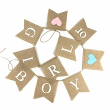 Boy or Girl Linen Banner Baby Shower Party Hanging Garland Gender Reveal Festival Parties Pregnancy Announcement