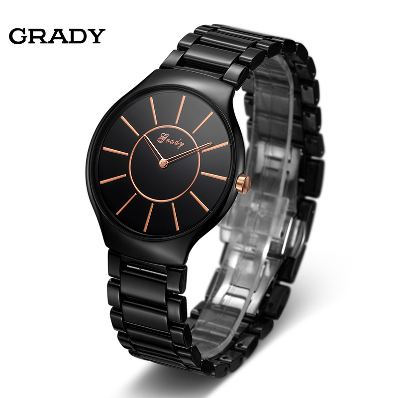 Grady brand new design men fashion casual ceramic wristwatch anti shock men watch free shipping reloj