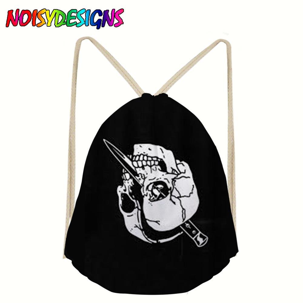 2019 Halloween Skull Drawstring Backpack Women 3D Printing Travel Softback Unisex Skull Mexican Human Skull Backpack