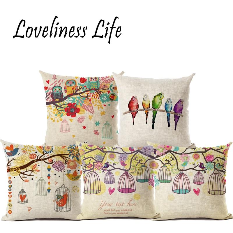 Moderno cuscino semplice Coppia uccello e albero romantico caldo - Tessili per la casa