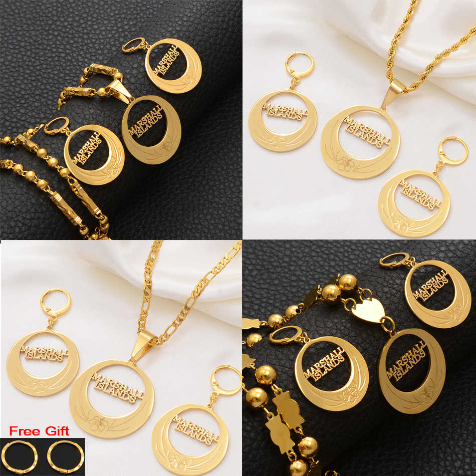 Anniyo Marshall Islands Jewelry Sets for Pendant Necklaces Earrings Gold Color Marshalls Jewellery Ethnic Wedding Gifts #107121