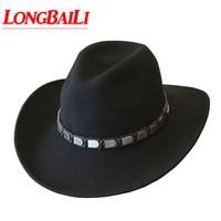 Winter Trendy Wide Brim Wool Felt Cowboy Hats For Men Chapeu Masculino Fedora Panama Free Shipping PWFR044