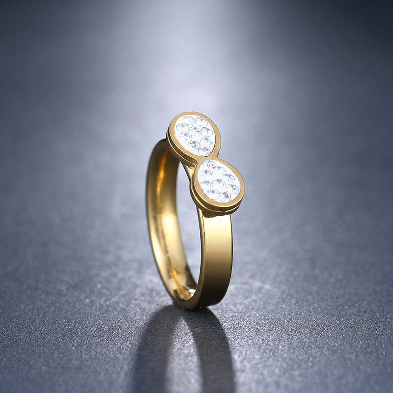 DOTIFI Titanium 316L Stainless Steel Rings For Women New Style Fashion 8 Words Gold color Engagement Wedding Ring Jewelry