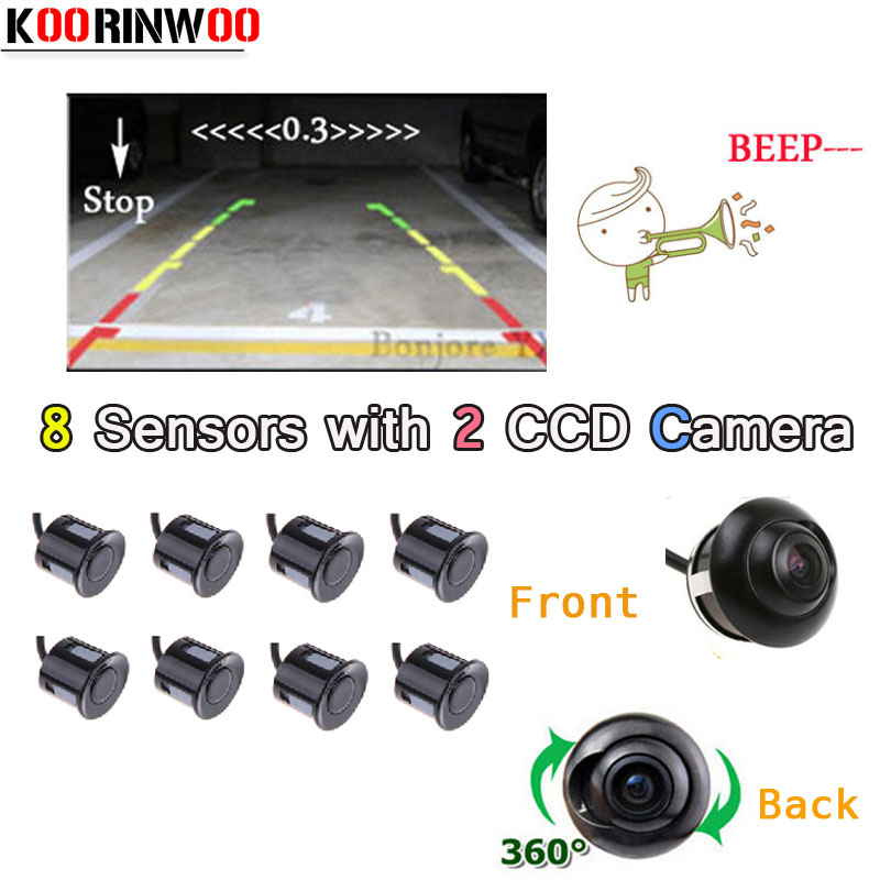 Koorinwoo Parking Video Jalousie Car Parking Sensors Parktronic 8 Alarm Front Camera Car Rear view camera Backup Car-Detector