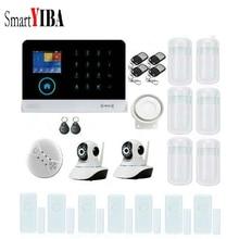 SmartYIBA RFID Arm/Disarm WIFI GSM Alarm Wireless Control Intruder Security Alarm 433MHz Detector+2pcs IP Camera Kits