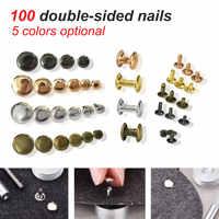 Double-sided Cap Rivet Tubular Household 100pcs/set Metal Leather Craft Repairs Studs Punk Spike Decoration
