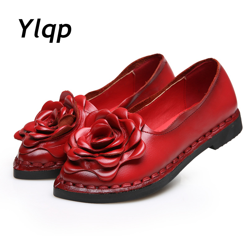 2018 Nya Vintage Handgjorda Folk Stil Kvinnor Flats Casual Skor Äkta Läder Lady Soft Bottom Skor för Mor Fashion Loafers