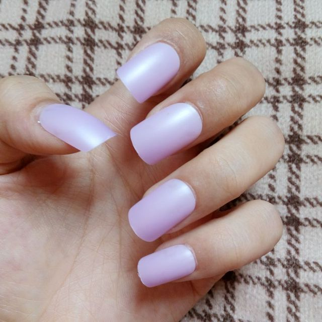 24pcs False Nails Light Purple Clear Nail Tips Coloured Acrylic Full Cover Manicure Products Daily