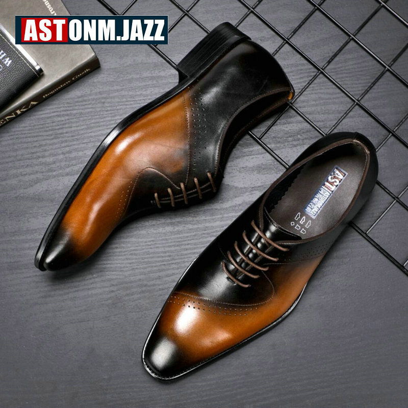 Men's Leather Casual Shoes Mens Breathable Genuine Leather Shoes Men Formal Casual Lace-up Oxford Shoes for Men Big Size 10.5 eu 53 men genuine leather shoes oxford dress shoes for men business shoes men lace up casual shoes big size b172
