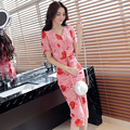 New Temperament Womens Sexy V-Neck Split Hip Summer Elegant Floral Flower Print Casual Party Club Evening Bodycon Sheath Dress