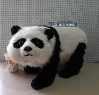 simulation large panda 38x15x24cm toy model polyethylene&furs panda model home decoration props ,model gift d147