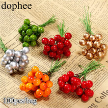 dohee 100pcs Artificial Holly Berries Vivid Red Holly Berry Berries Home Garland Christmas Dec New Beautiful 6 colors(China)