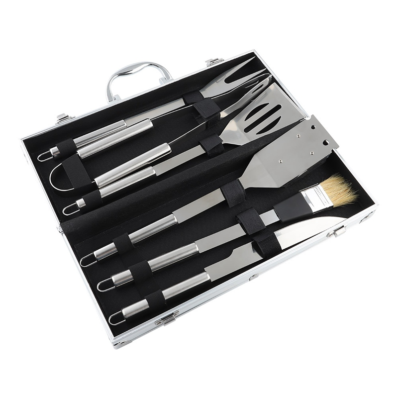 6pcs/Set Stainless Steel BBQ Utensil Grill Set Tools Outdoor Cooking BBQ Kit with Carry Bag Camping Barbecue Accessories Tools
