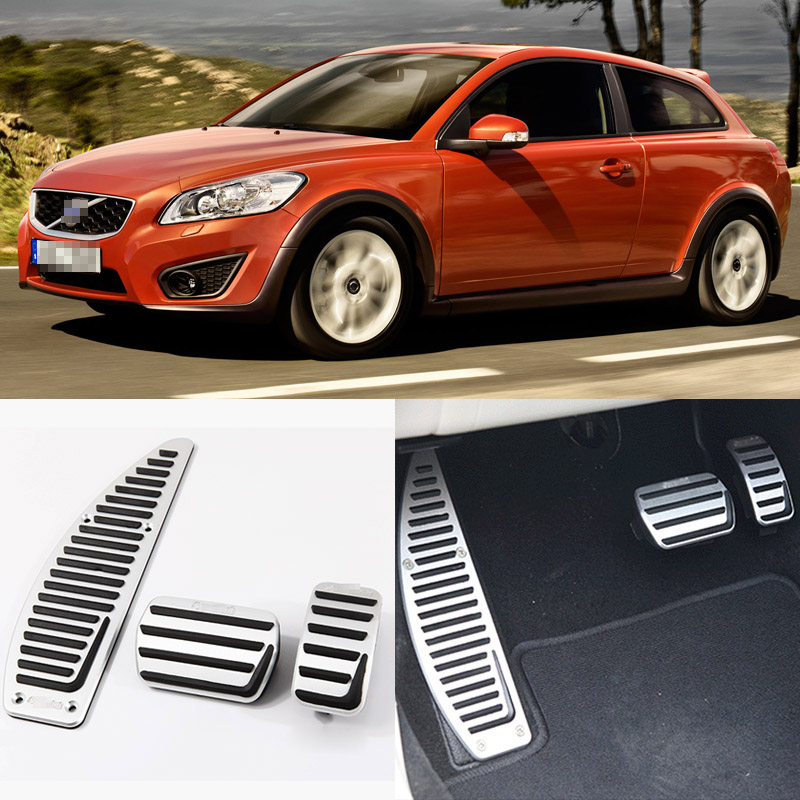 Brand New 3pcs Aluminium Non Slip Foot Rest Fuel Gas Brake Pedal Cover For Volvo C30 AT 2008-2016 brand new 3pcs aluminium non slip foot rest fuel gas brake pedal cover for vw touran at 2008 2015