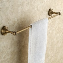 цена Antique Brass Towel Bar Single Towel Rack Bathroom Wall Mounted Towel Holder KD647 онлайн в 2017 году