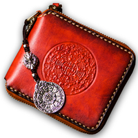 Luxury brand high end tag handmade original women wallets genuine leather mysterious Tibet embossed character men's wallet