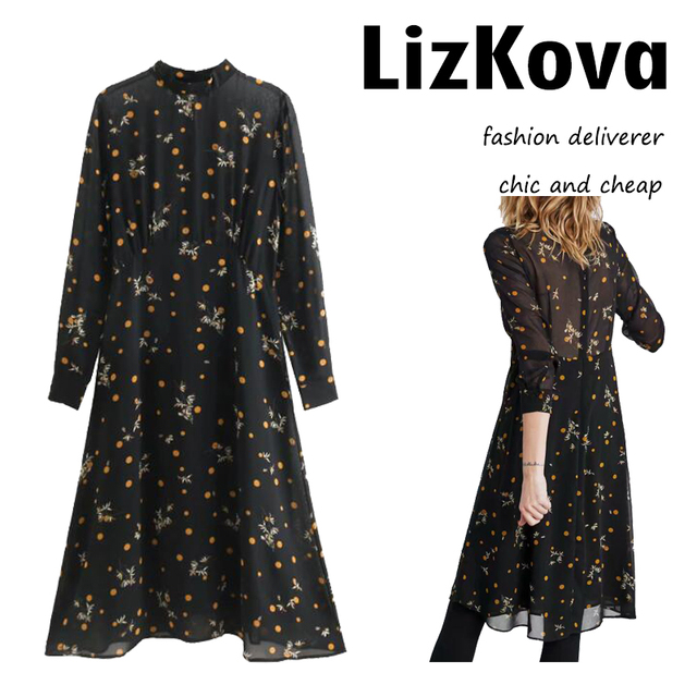 e96bc45491f 2019 Long Sleeve Polka Dot Chiffon Dress Korean Fashion Floral Printing  Black Party Midi Dress Sexy Transparent vestido