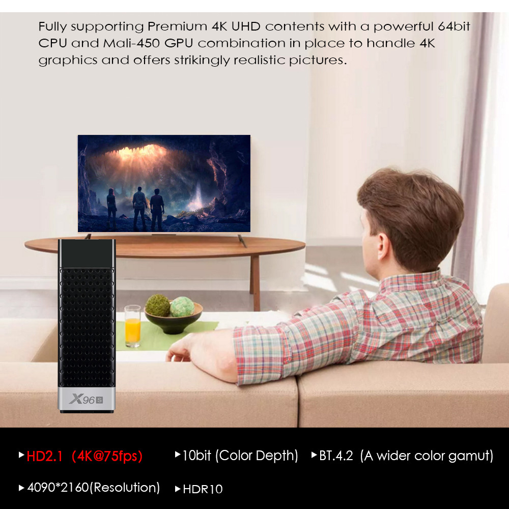 Smart 4K Android 8.1 TV Box X96S Amlogic S905Y2 DDR4 4GB 32GB X96 Mini PC TV Stick 5G WiFi Bluetooth 4.2 TV Dongle lecteur multimédia - 5