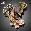 AZORA Dois Borboleta Vara Em Conjunto Banhado A Ouro Champagne Cristal Moda Costume Pin Broche TP0008