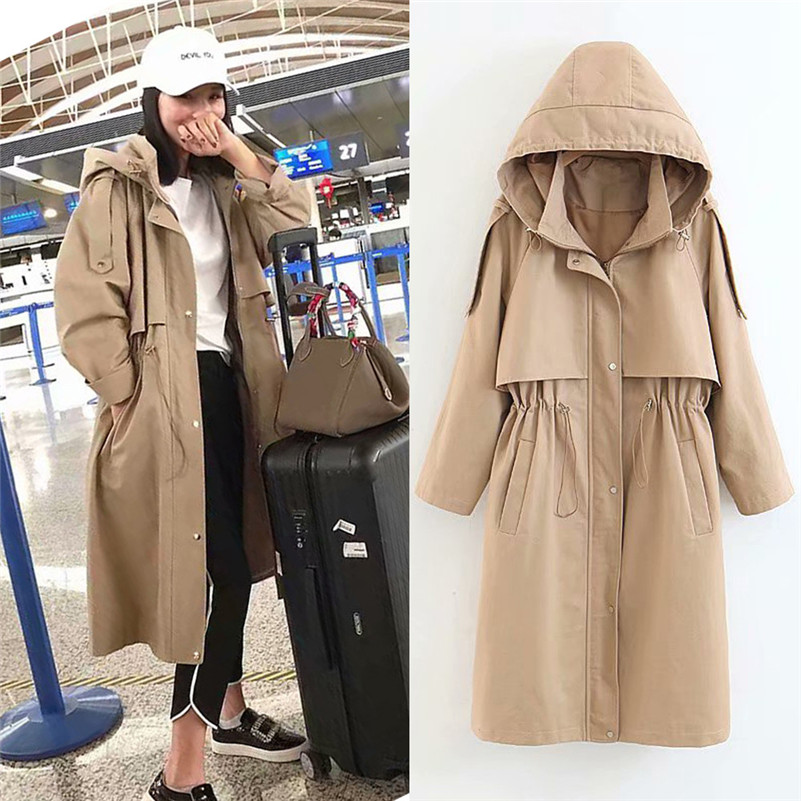 2018 New Brand autumn Winter Women   trench   Windbreaker fashion causal solid Outdoor Hooded   trench   Zip Pocket Windbreaker Coat#SA