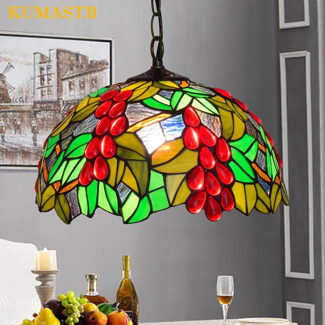 12 Inch American Pastoral Red Grape Stained Glass Pendant Light Living Room Dining Lamp Bedroom Art Hanging Fixture