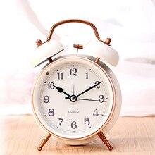 Cinto cama de criança grande sino de metal despertador pequeno olho-lanterna despertador mudo descansava moda relógio de mesa de Cabeceira Wake Up relógio