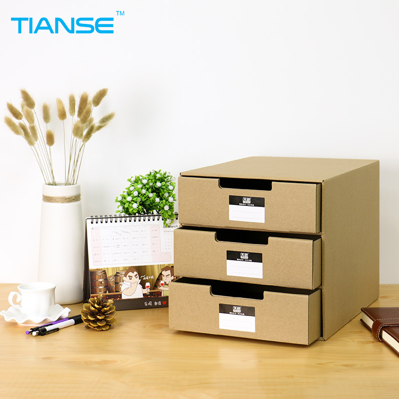 TIANSE kraft paper desktop storage box 24.5*31.5*25cm for file document can storage A4 paper with 3 drawers домкрат kraft кт 800026