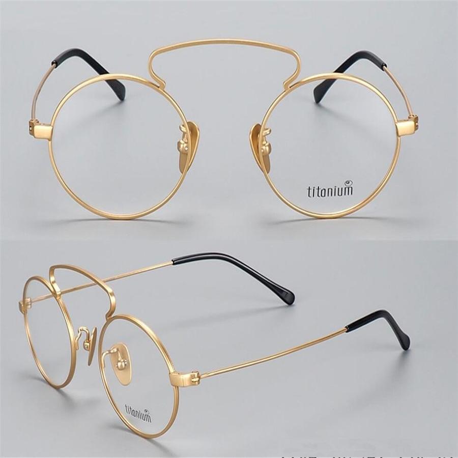 Men's Eyewear Frames Mongoten Pure Titanium Retro New Unisex Fashion Full Rim Clear Lens Myopia Eyewear Frame Silver Gold Optical Goggle Eyeglasses Men's Glasses