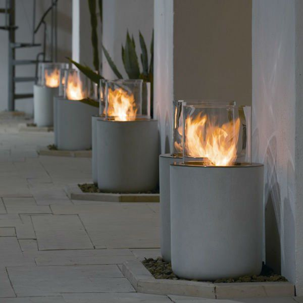On Sale 21 Inch Ethanol Burner With Remote Control Round  Outdoor Fireplace
