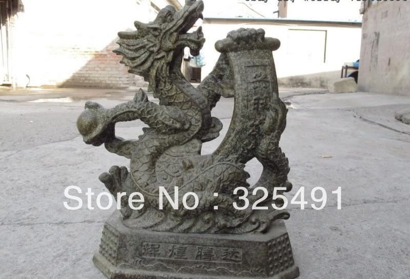 Chinese Folk Classic Bronze Feng Shui Lucky Dragon God Hold couplet Art Statue zChinese Folk Classic Bronze Feng Shui Lucky Dragon God Hold couplet Art Statue z