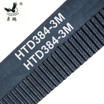 5 pieces/pack HTD3M timing belt teeth 128 width 12mm length 384mm rubber closed-loop 384-3M-12 High quality 384 HTD 3M 12 CNC free shipping 1pcs htd1540 14m 40 teeth 110 width 40mm length 1540mm htd14m 1540 14m 40 arc teeth industrial rubber timing belt