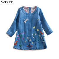 V TREE Spring Flower Girl Dresses Long Sleeve Embroidery Denim Dress For 2 7T Girls School