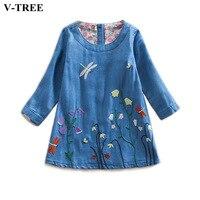 V TREE Spring Flower Girl Dresses Long Sleeve Embroidery Denim Dress For 2 7T Girls School