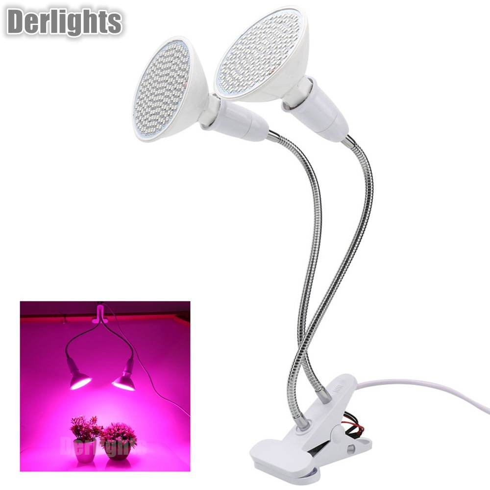 Dual Head LED Grow Light With Desk Holder Clip Growing Lamp For Indoor Greenhouse Flowering Plant and Hydroponics System стоимость