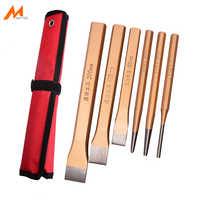 6PCS Cold Chisel and Center Punch Set Solid Pin Punch Kit Masonry Plow Bit Stone Fitter Construction Carving Hand Tools