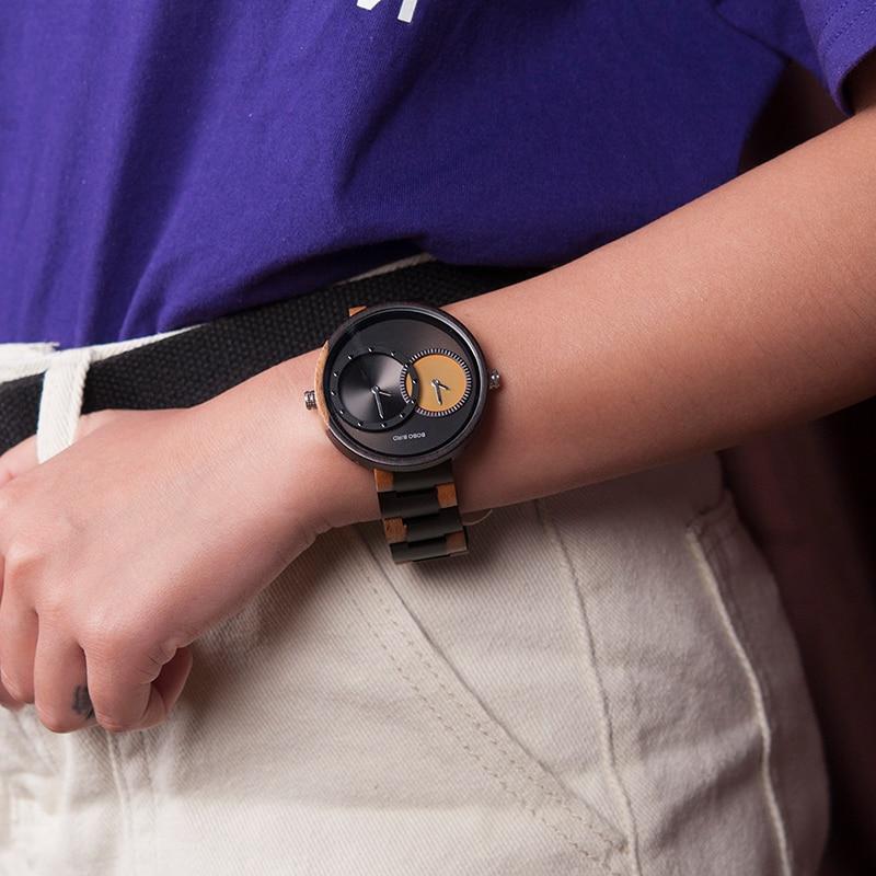 relogio masculino BOBO BIRD Watch Men 2 Time Zone Wooden Quartz Watches Women Design Men's Gift Wristwatches In Wooden Box W-R10 5