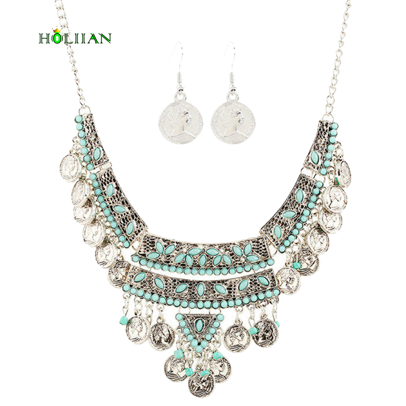 Hot new fashion vintage marble tassels alloy coin choker necklace statement human head bead necklace jewelry set for women gift