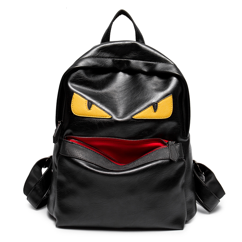 Fashion feminine <font><b>backpacks</b></font> men travel <font><b>backpack</b></font> women school bags for girls eye Monster <font><b>leather</b></font> <font><b>backpack</b></font> youth bagpack sac a dos
