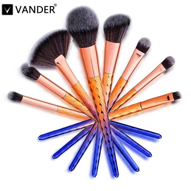 Vander 8 pcs Pincéis de Maquiagem Profissional Kabuki Blush Blending Cosméticos Puff Fundação Contorno Pó Olhos e Lábios maquiagem Kits