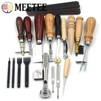 Meetee Leather Craft Tool 18pcs/lot Set Hand stitched Hand made Art Tool Set 02 Entry level Handmade Leather Set BD125